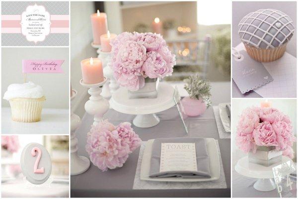 Aufregende hochzeitsdeko in grau rosa - Hochzeitsdeko altrosa ...