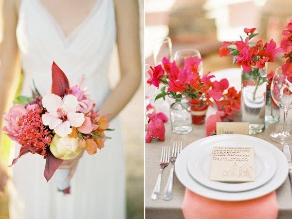 Natürliche Hochzeitsdeko für den Sommer in Pink  Friedatheres.com