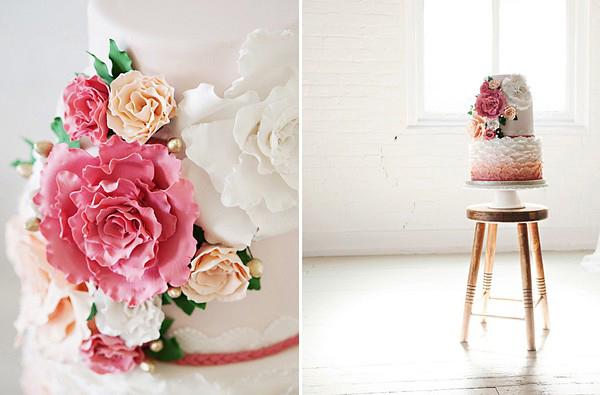 Hochzeitstorte pinke Blume