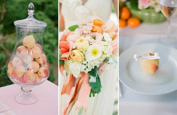 Hochzeitsdeko mit Pfirsichen für den Sommer  Friedatheres.com