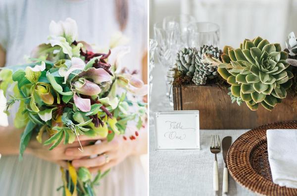 Hochzeit Tischdeko Holz Rustikal Blumensträuße Pinke Servietten ...