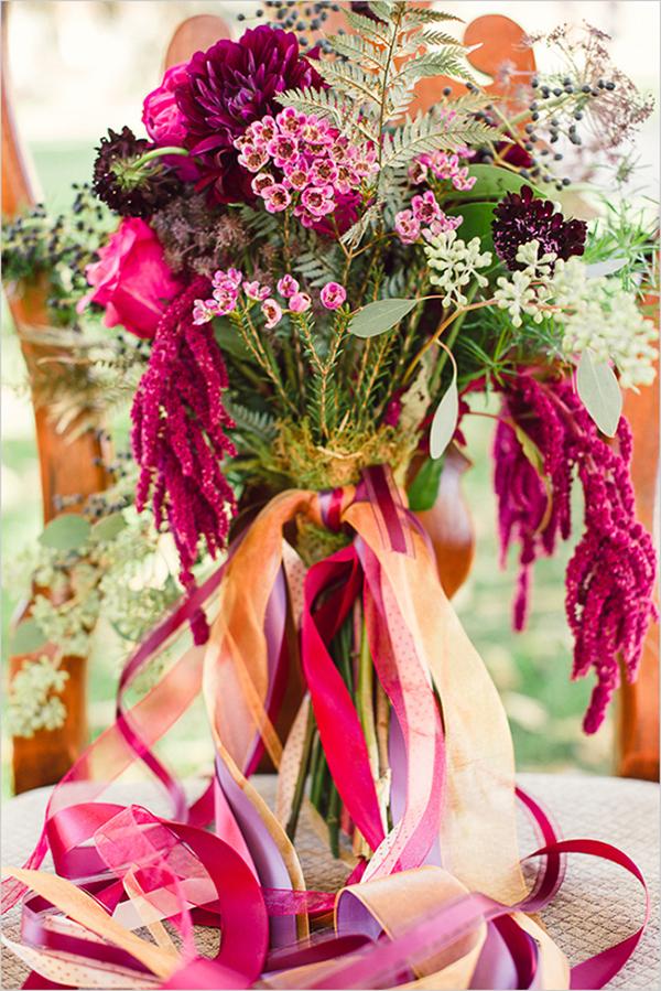 brautstrauss lila pink