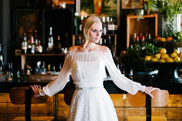 Brautkleid langer Arm Hippie