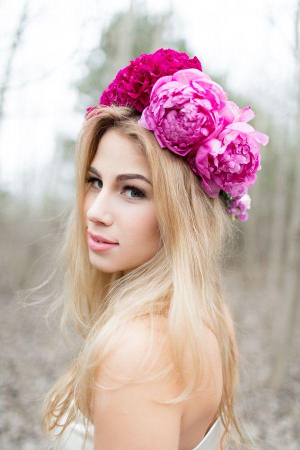 blumenkranz hippie hochzeit pink