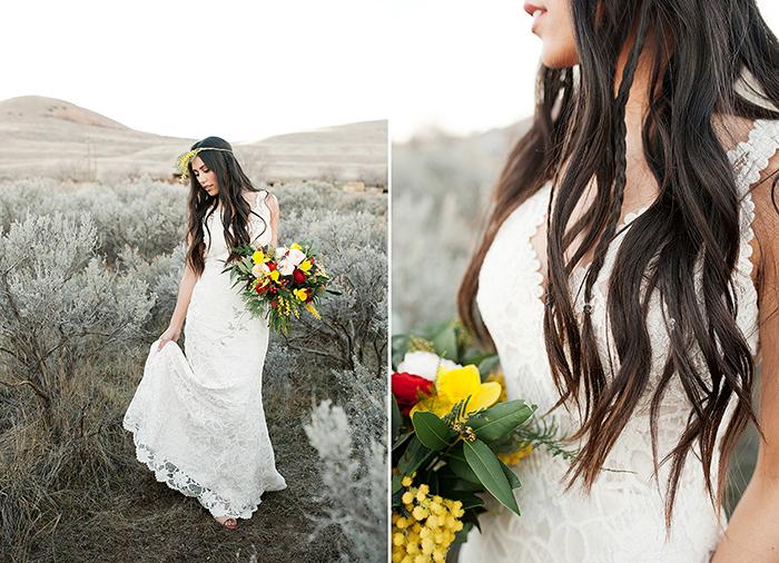 Brautstrauss gelb Hippie (1)