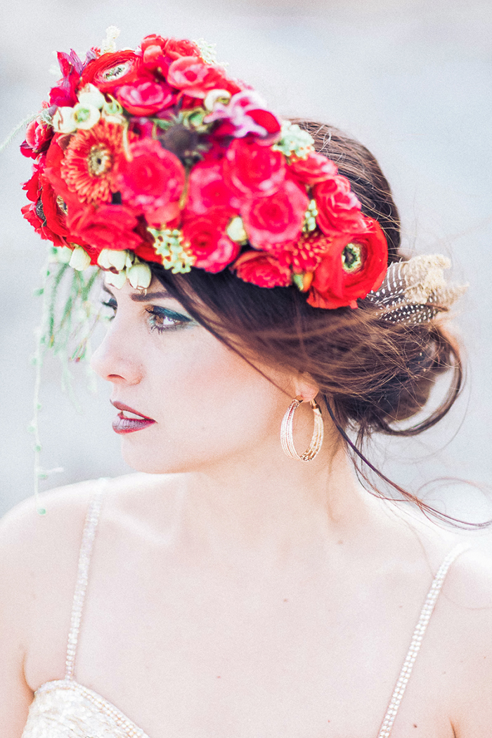 Blumenkranz Braut rot