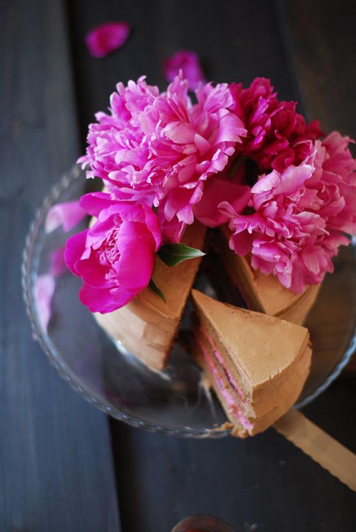 Torte pinke Blumen