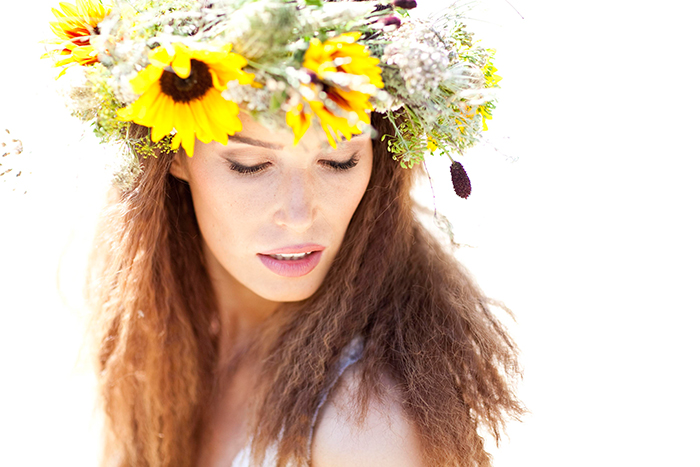 blumenkranz sonnenblumen hochzeit