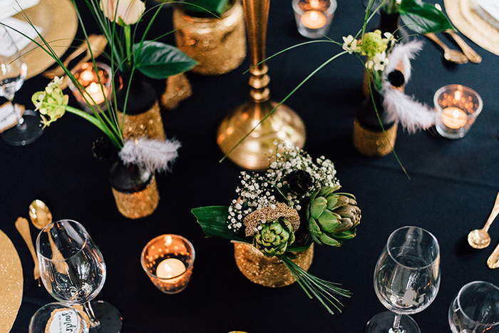 Hochzeit gold schwarze Deko (91)