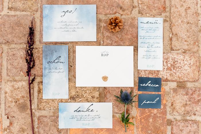 blaue Hochzeiteinladungen