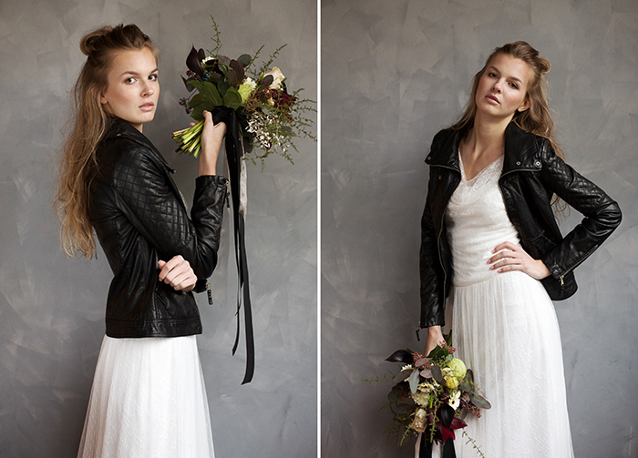 Braut mit Lederjacke