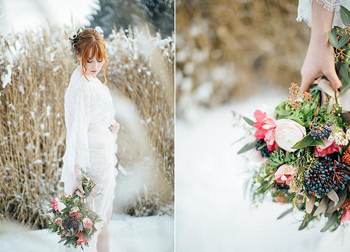 Brautboudoir im Winter