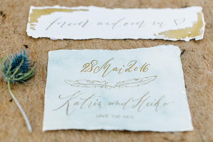 Hochzeitseinladungen goldene Schrift (1)