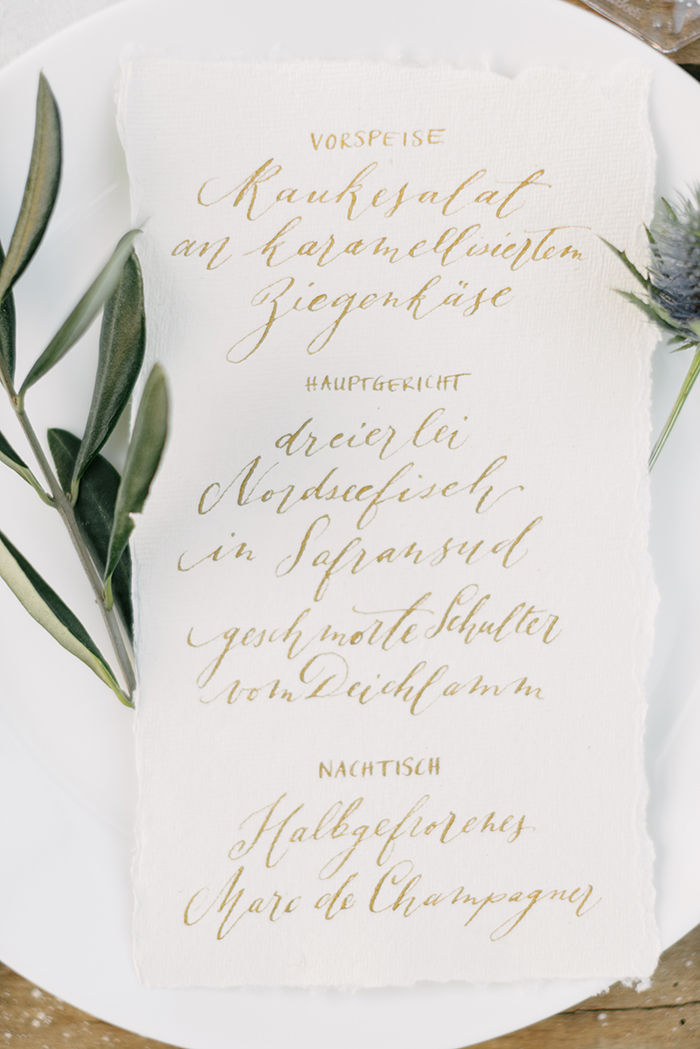 Menuekarte Kalligrafie
