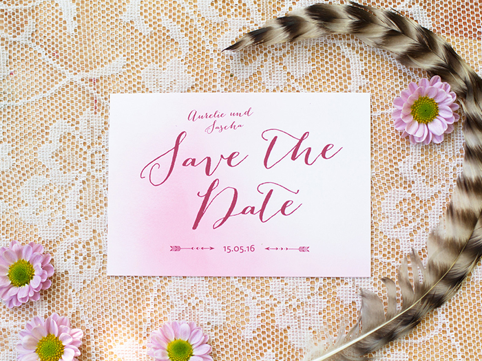 Save the Date Karte rosa