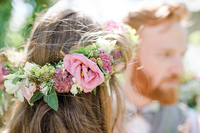rosa Blumenkranz Braut