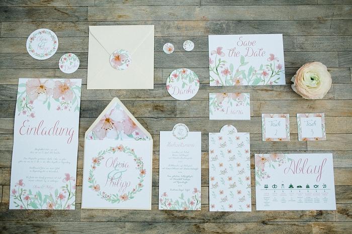 Hochzeitseinladung Blumenmuster (3)