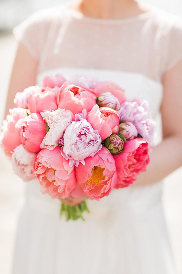 Brautstrauss rosa Pfingstrosen