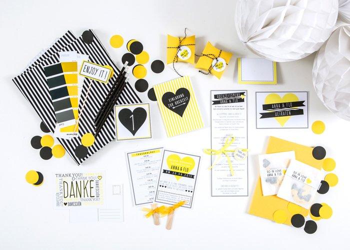gelbe Hochzeitseinladungen