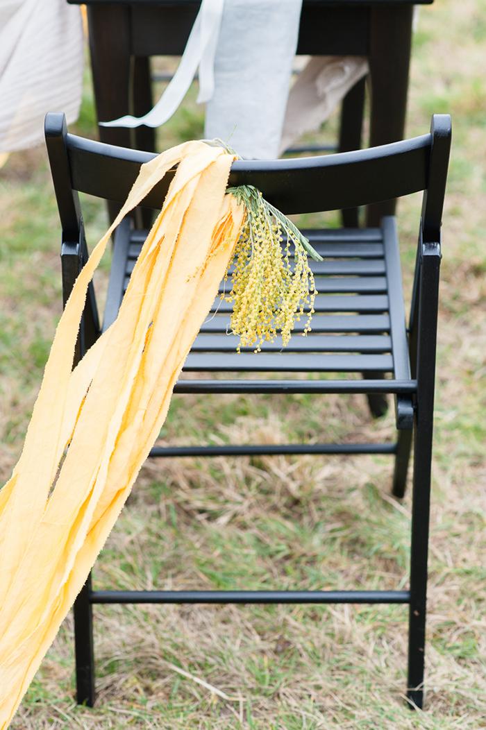gelbe Stuhldeko Hochzeit