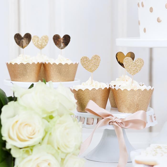 goldene Cupcakes Hochzeit