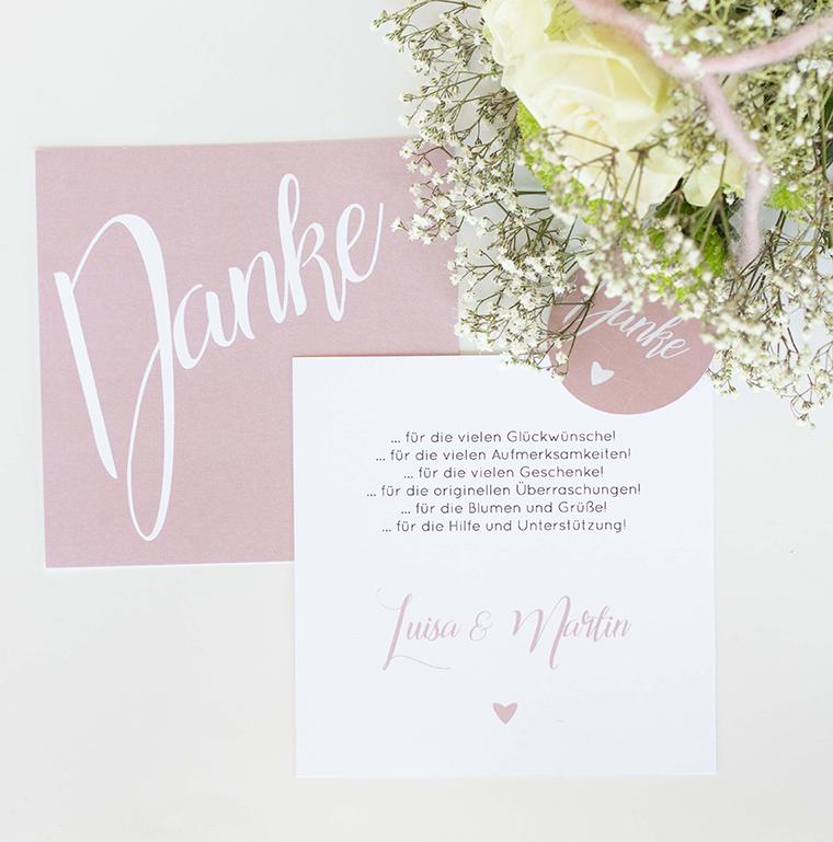Dankeskarte rosa weiss