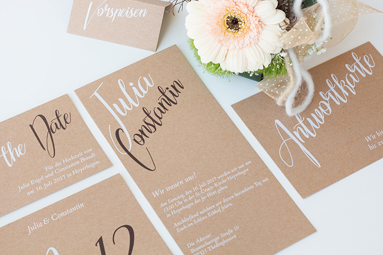 Hochzeitseinladung Kraftpapier (1)