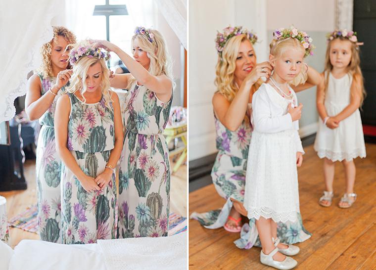 Brautjungfer und Blumenkind