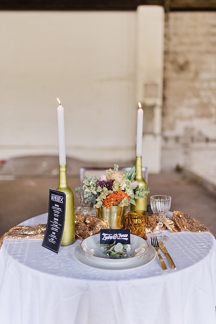Tischdeko Hochzeit gold (4)