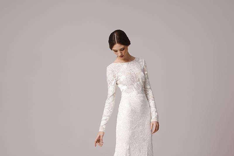 Kleid standesamt spitze langarm