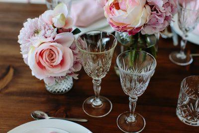 Tischdeko in Rosa