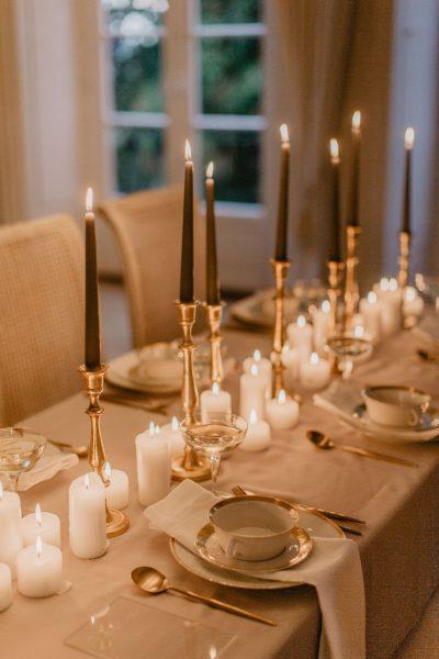 Glam Deko mit Kerzen