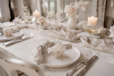 Tischdeko: Vintage Weiß