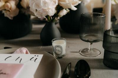 Tischdeko in Rosa & Schwarz