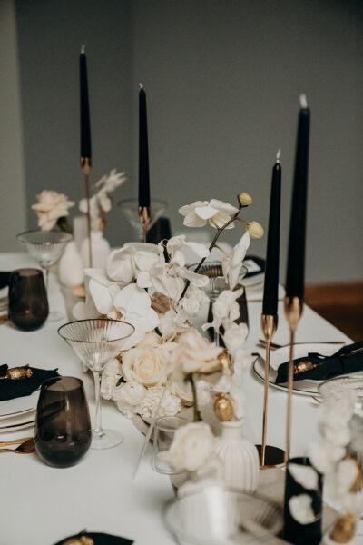 Black Glam – elegante Tischdeko